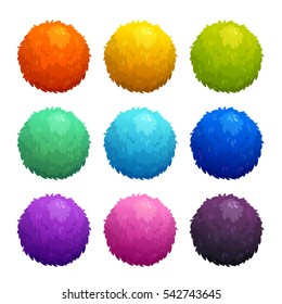 Colorful cartoon furry balls. Funny assets for game design. Vector illustration, isolated elements on white background.