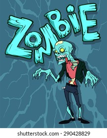 Colorful cartoon halloween illustration with a funny zombie character