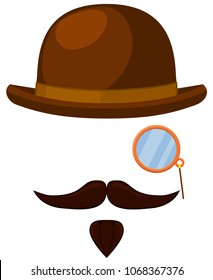 Colorful cartoon hipster avatar element set. Bowler hat, monocle mustache and beard. Fashion vector illustration for gift card certificate sticker, badge, sign, stamp, logo, label, icon, poster