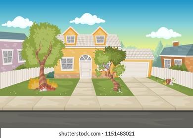 Colorful cartoon houses. Suburb neighborhood.
