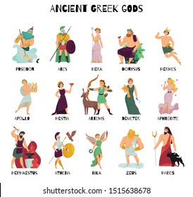 Colorful cartoon icons set with male and female ancient greek gods and their names isolated on white background vector illustration