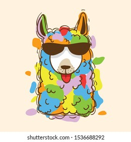 colorful cartoon llama illustration with my hand drawn style. thank you for download :)