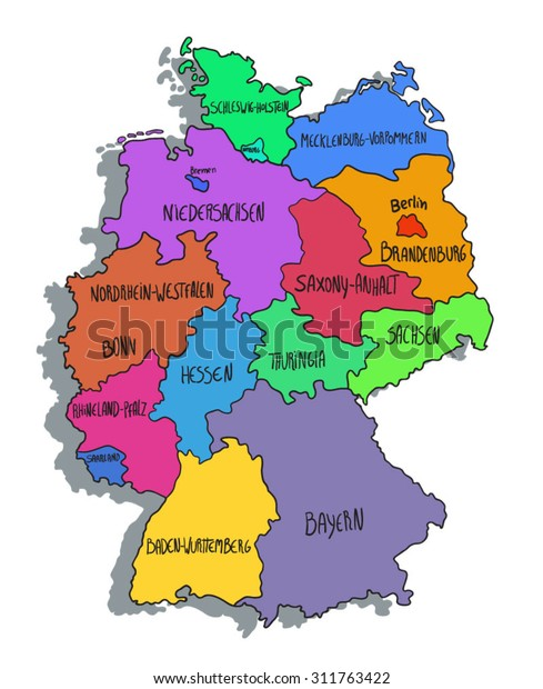 Cartoon Map Of Germany.Colorful Cartoon Map Germany Stock Vector Royalty Free 311763422