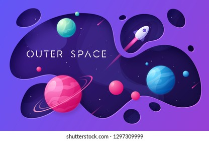 Colorful cartoon outer space background, design, banner, artwork. Vector illustration.
