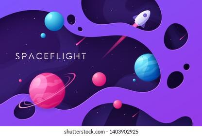 Colorful cartoon outer space background, design, banner, artwork. Vector illustration.