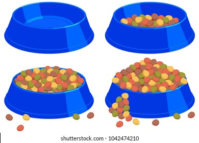 Colorful cartoon pet food bowl set. Various filling state. Cat dog care themed vector illustration for gift card, flyer, certificate banner, logo, patch, sticker