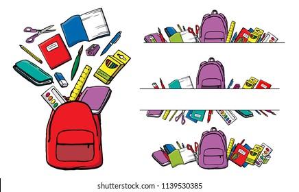 Colorful cartoon school supplies set. Schoolbag or backpack, pencil case, eraser, sharpener, pencil, pen, brush, scissors, ruler, notebook, textbook, book. watercolor, lunchbox, crayons.