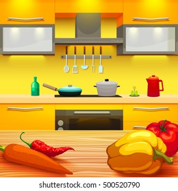 Colorful cartoon style kitchen interior with wooden table and vegetables furniture pan and pot on stove vector illustration