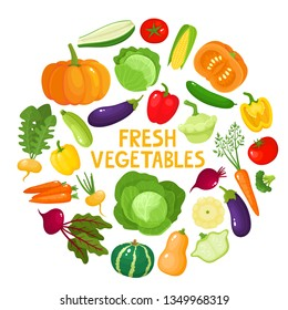 Colorful cartoon vegetables icons in round isolated on white. Vector illustration of fresh organic vegetable banner with text used for magazine, book, poster, card, menu cover, web pages.
