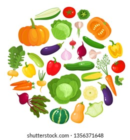 Colorful cartoon vegetables icons in round isolated on white. Vector illustration of fresh organic vegetable banner used for magazine, book, poster, card, menu cover, web pages.