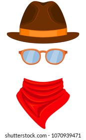 Colorful cartoon western avatar. Stetson hat, bandanna scarf and glasses. Wild west vector illustration for gift card certificate sticker, badge, sign, label, icon, poster, patch, banner invitation