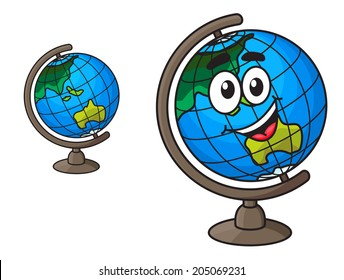 Colorful cartoon world globe with a laughing smile with a second variation with no face, isolated on white