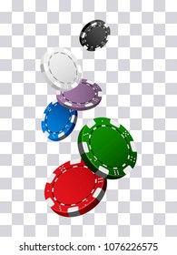 Colorful casino chips falling on transparent background