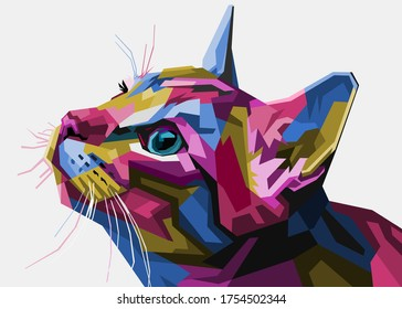 colorful cat head style pop art suitable for poster banners and others