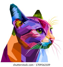colorful cat isolated on white background. vector illustration.