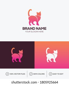 Colorful cat logo design vector