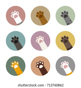 colorful cat paws in circles set, cat paws bundle, cat vector illustration, adorable kitten feet in pastel circles