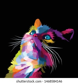 colorful cat pop art portrait