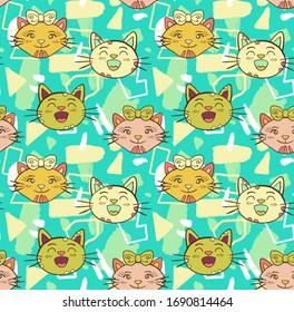 Gatos coloridos sobre el fondo del doodle, patrón sin fisuras