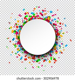 Colorful celebration background. Paper round speech bubble with confetti. Vector Illustration.