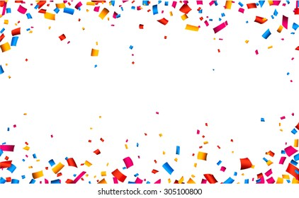 Colorful celebration frame background with confetti. Vector background.