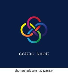 Colorful celtic knot. Template for logo, label, emblem, sign, stamp. Vector illustration.