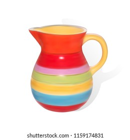 Colorful ceramic jug.  Ceramic kitchenware. Vector illustration