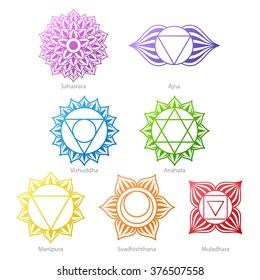 Colorful chakras symbols icons set. Spiritual meditation elements vector illustration.