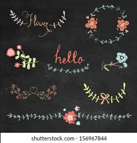 Colorful chalkboard hand drawn graphic flower set