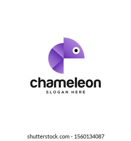 colorful chameleon logo design vector