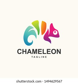 Colorful Chameleon logo template design