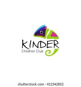 Colorful  chameleon. Vector logo for children club