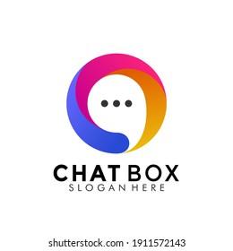 Colorful Chat Box Logo Design. Creative Idea logos designs Vector illustration template