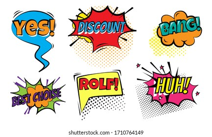 Colorful chat doodles and words for attracting attention vector illustration