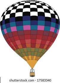 a colorful checkered hot air balloon illustration