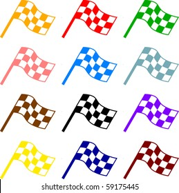colorful checkered racing flags