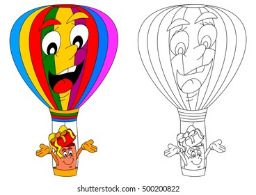 Colorful and cheerful flying balloon and gift as coloring books for small children - vector