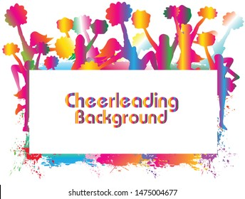 Colorful Cheerleader sport background. Celebrating with blank billboard below. Logo, Icon, Symbol, Silhouette. Vector illustration.