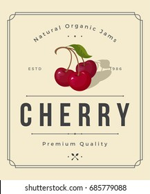 Colorful Cherry Jam Packaging Logo Design Element in Vintage Style. Cherry Retro Label Vector Illustration.