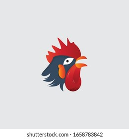 colorful chicken rooster head mascot, logo template design