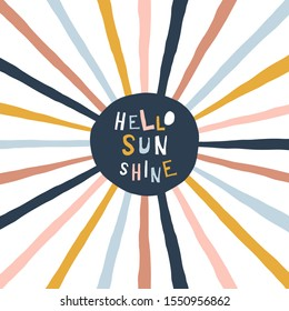 Colorful childish illustration with sun and text. Hello sunshine paper cut style lettering. Typographic print for kids nursery design.
