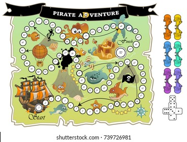 """Colorful children board game """"Pirate Adventure"""". Cut out ships and dice and play! Game play similar to Snakes and Ladders"""