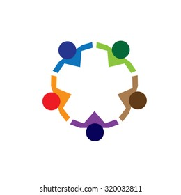 Colorful Children Playing Circle Game. Abstract People Holding Hands Logo.