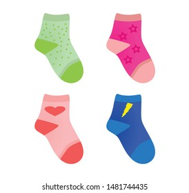 Colorful children socks set. vector illustration