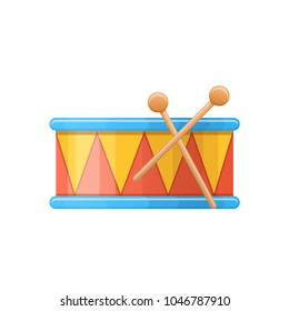 Colorful children's drums, musical instrument. Children percussion musical instrument for holidays, carnivals. Kid's cartoon toys, store, kindergarten, home toys with ornament. Vector illustration.