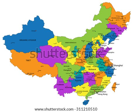 Colorful China Political Map Clearly Labeled Stock Vector Royalty
