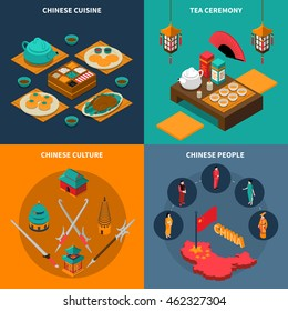 Colorful china touristic isometric isolated 2x2 icons set with chinese cuisine tea ceremony culture and people vector illustration