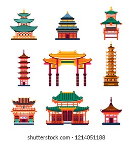 Colorful Chinese buildings, vector flat isolated illustration. China town traditional pagoda house. City architecture design elements.