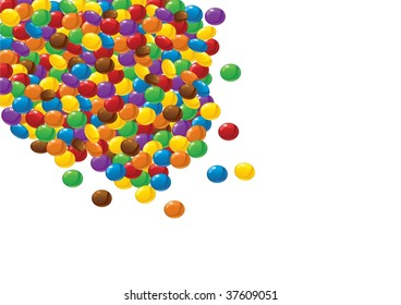Colorful chocolate candies. Vector. Isolated on white.