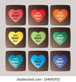 colorful and chocolate heart shape frames - abstract vector background for greetings, invitation, mother's day, birthday, party, valentines day, wedding, scrapbook project